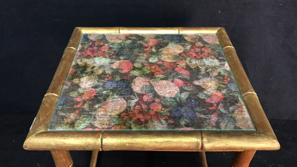Gold Painted Flower & Glass Top Side Table - 2