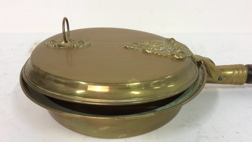 Antique English Long Handled Wood Brass Bed Warmer - 2
