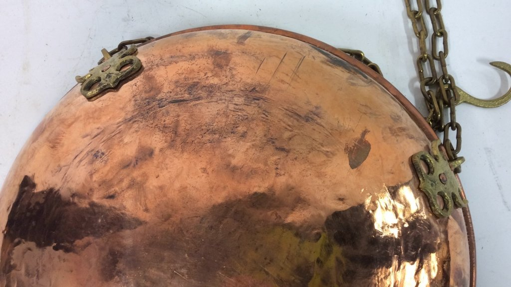Antique Hand Forged Hanging Copper Bowl - 7