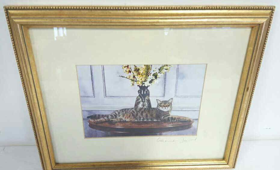 Signed Print Of A Cat On A Table