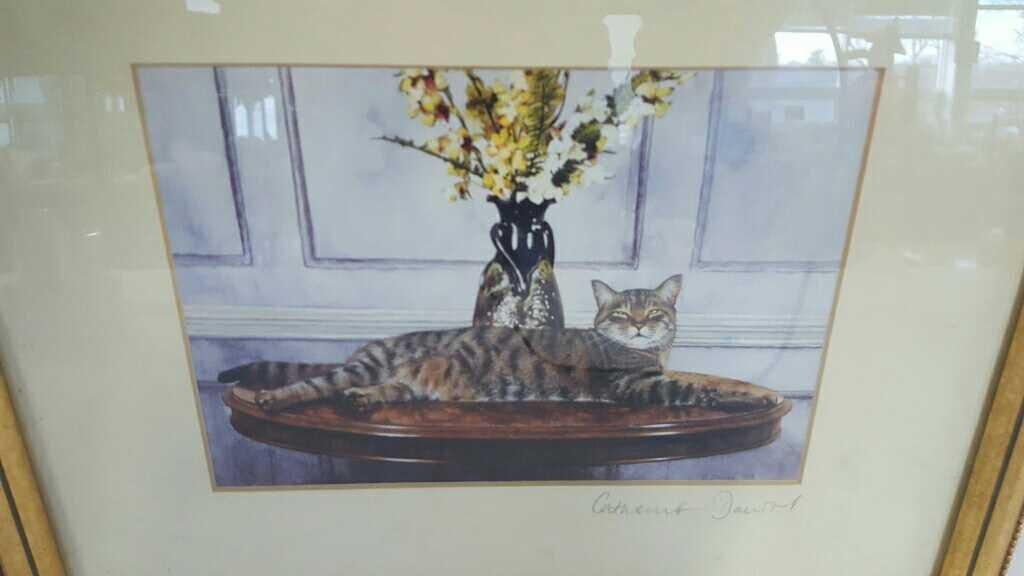 Signed Print Of A Cat On A Table - 2