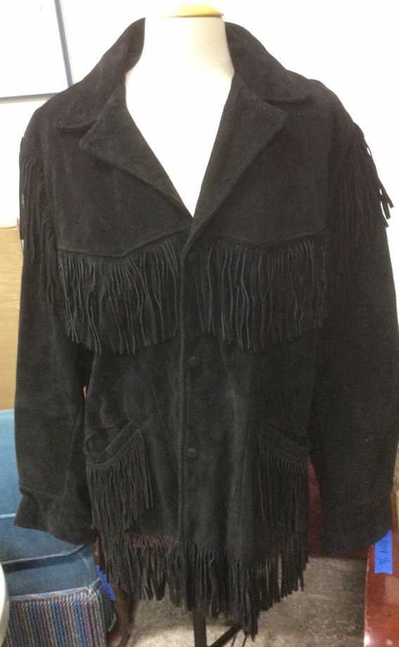 Vintage Ladies Black Suede Fringed Jacket