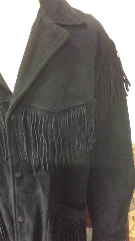 Vintage Ladies Black Suede Fringed Jacket - 3