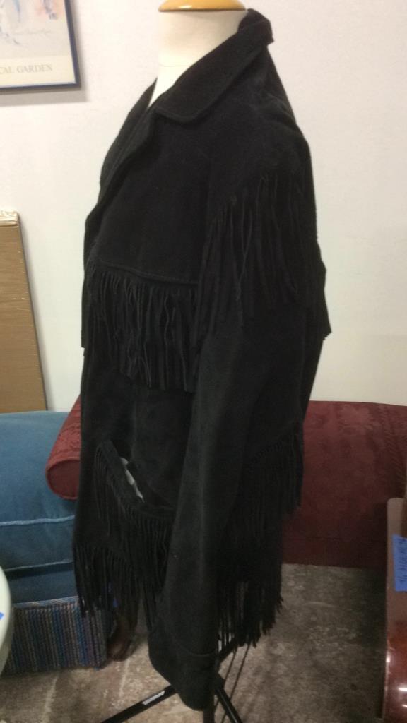 Vintage Ladies Black Suede Fringed Jacket - 5