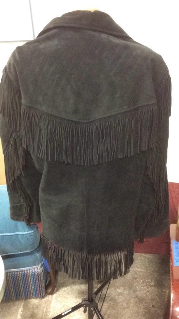 Vintage Ladies Black Suede Fringed Jacket - 6