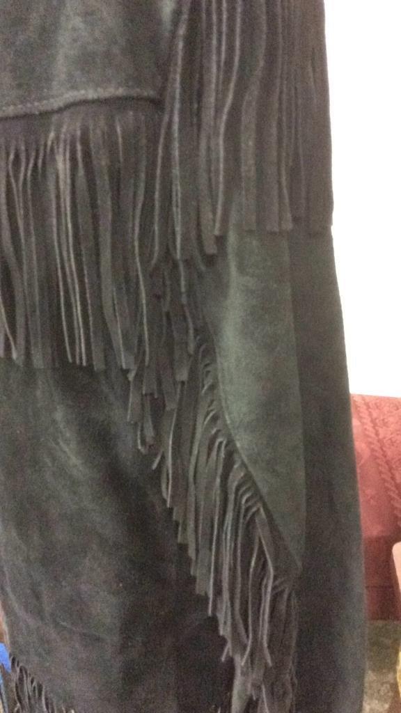 Vintage Ladies Black Suede Fringed Jacket - 7