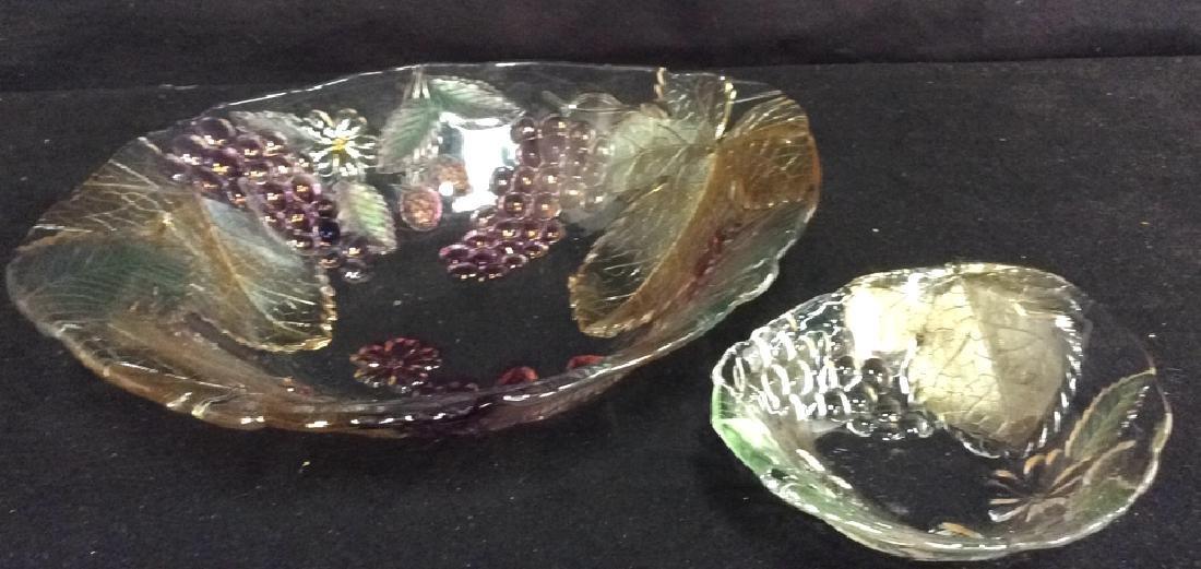 Vintage Glass Leaf & Grape Bowls