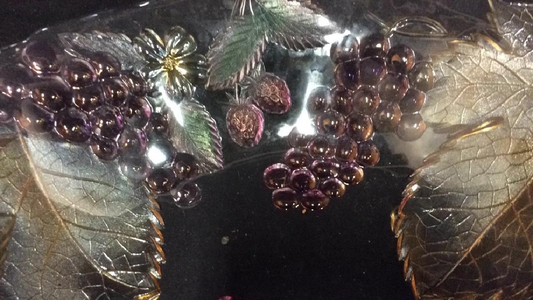 Vintage Glass Leaf & Grape Bowls - 3