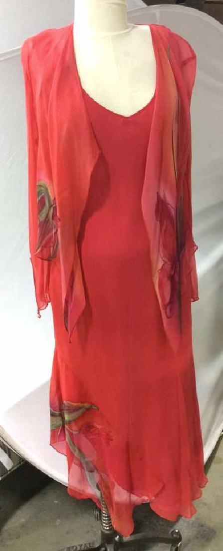 Vintage Red V Neck Sheath Dress w Jacket