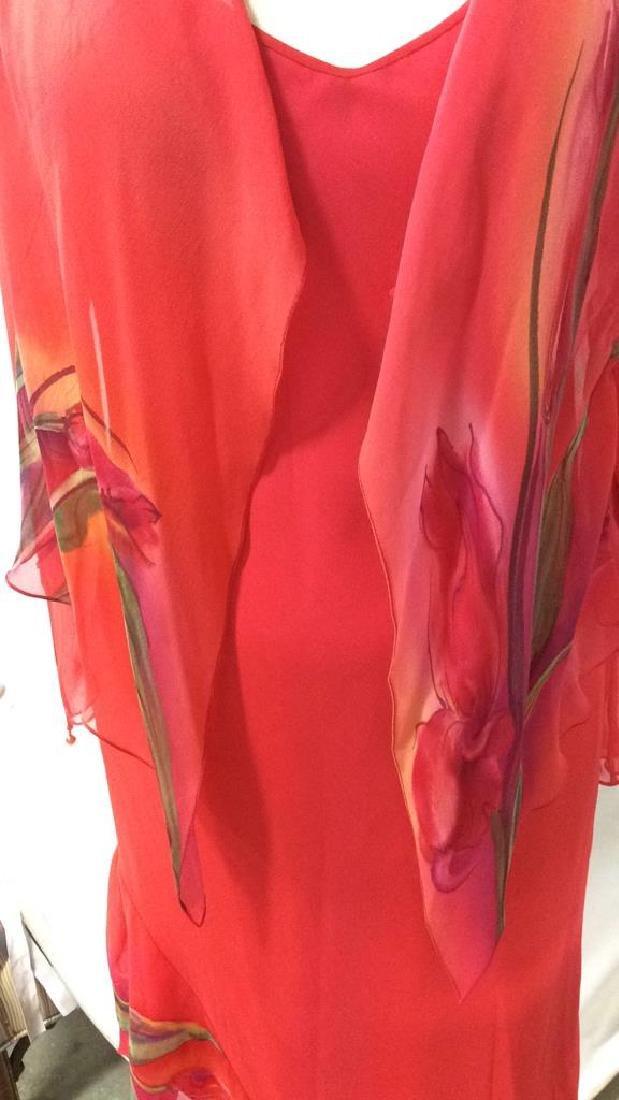 Vintage Red V Neck Sheath Dress w Jacket - 2