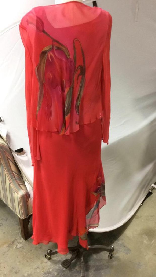 Vintage Red V Neck Sheath Dress w Jacket - 3