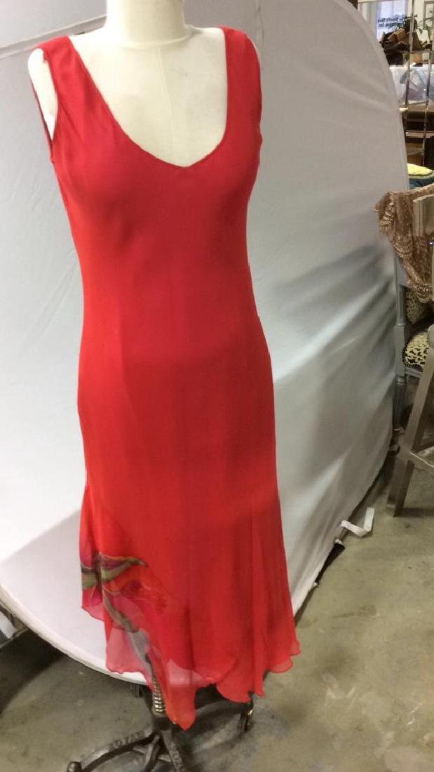 Vintage Red V Neck Sheath Dress w Jacket - 8