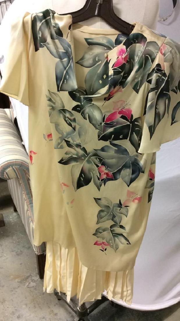 Vintage Layered Two Piece Cream Silk Dress - 4