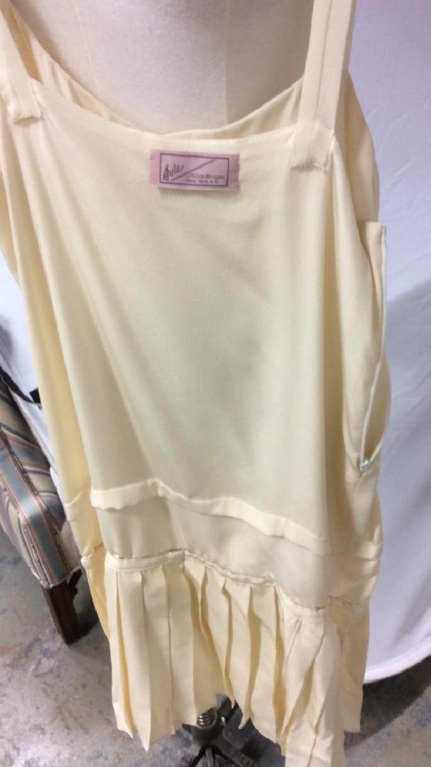 Vintage Layered Two Piece Cream Silk Dress - 6