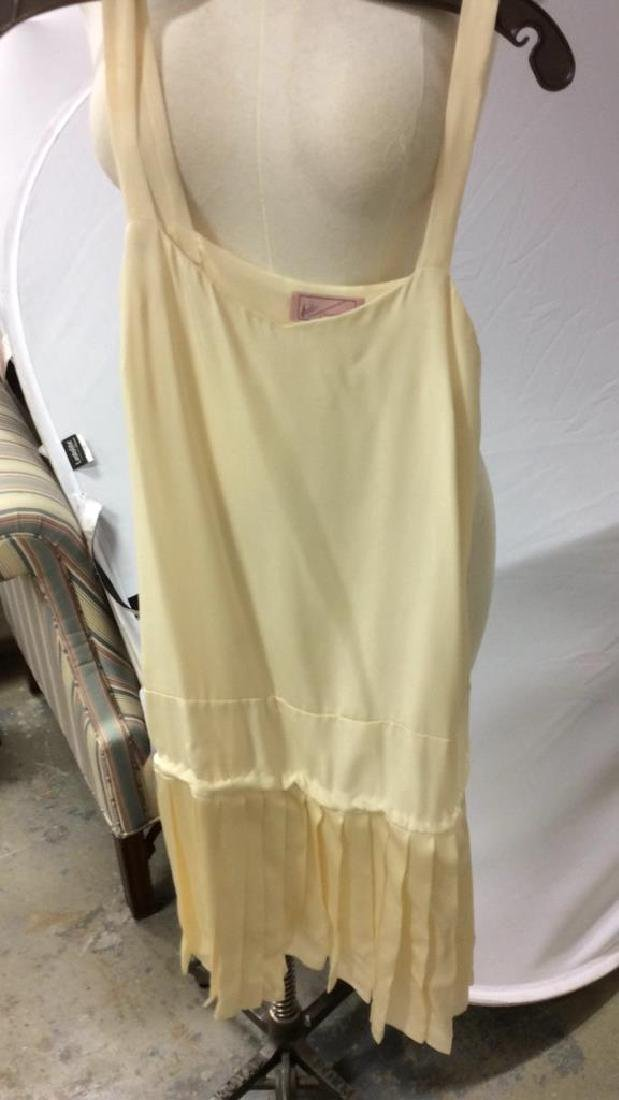 Vintage Layered Two Piece Cream Silk Dress - 8