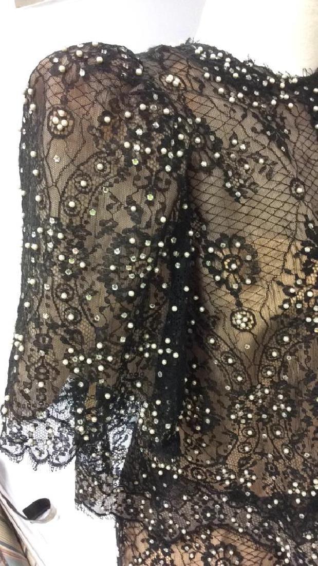 Vintage Black Lace Seed Pearls Ladies Dress - 10