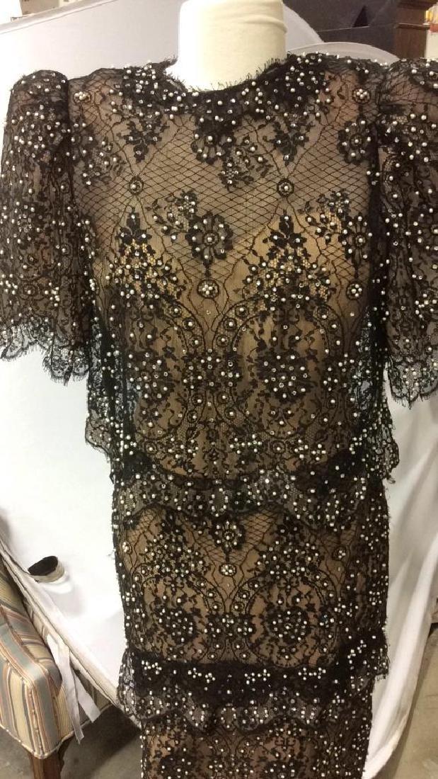 Vintage Black Lace Seed Pearls Ladies Dress - 2