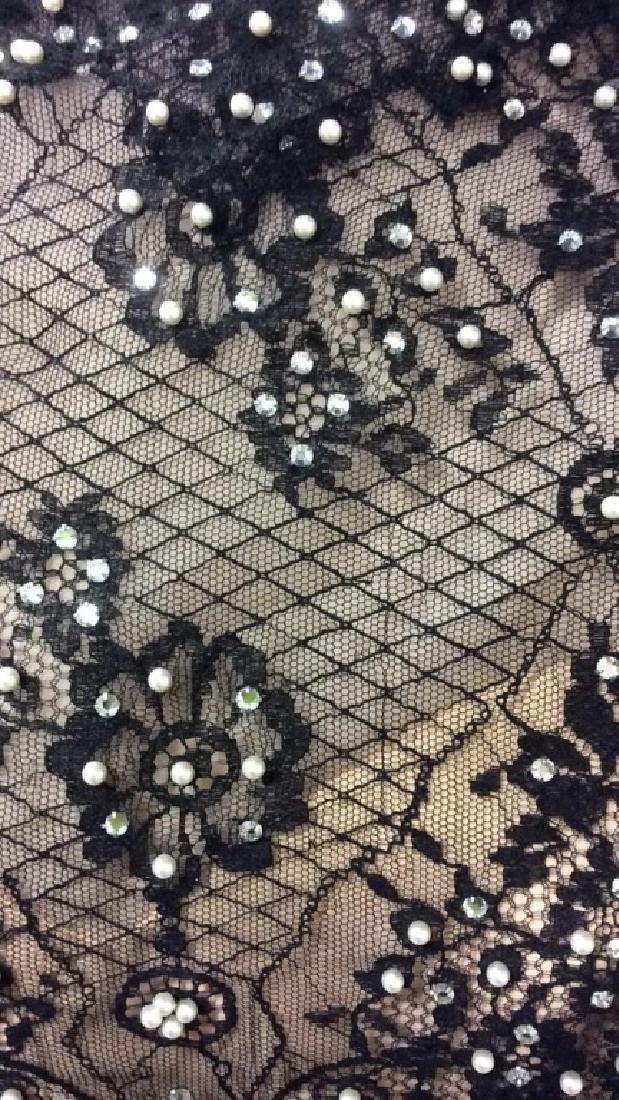 Vintage Black Lace Seed Pearls Ladies Dress - 4