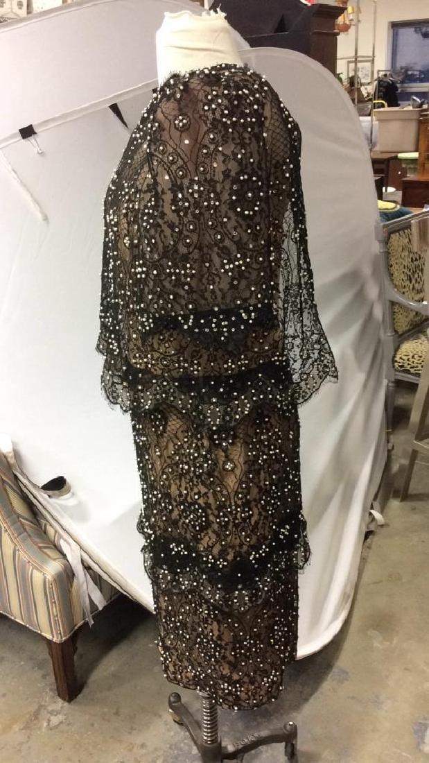Vintage Black Lace Seed Pearls Ladies Dress - 5