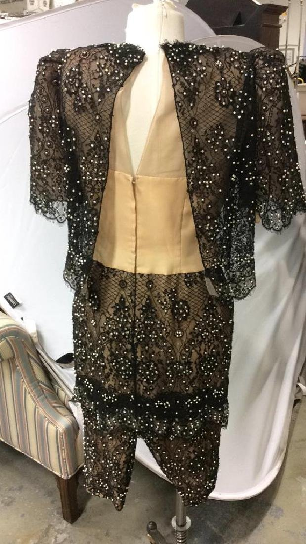 Vintage Black Lace Seed Pearls Ladies Dress - 6