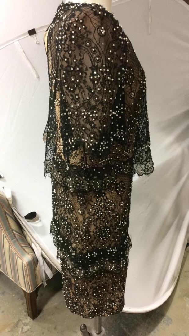 Vintage Black Lace Seed Pearls Ladies Dress - 8