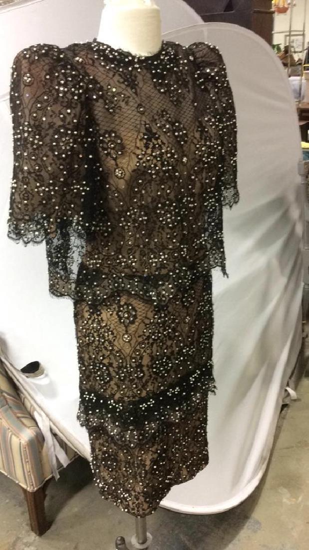 Vintage Black Lace Seed Pearls Ladies Dress - 9