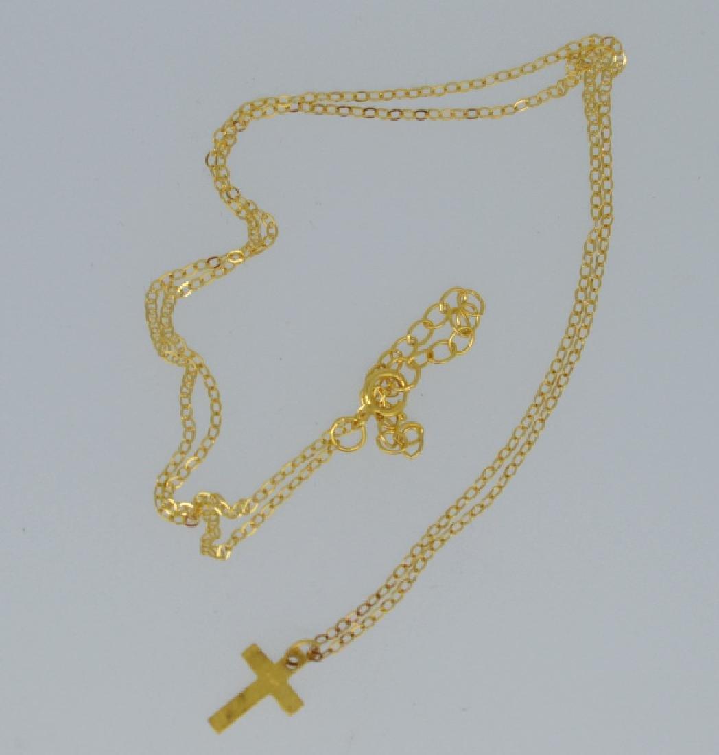 Petite Vermeil Cross Necklace - 3
