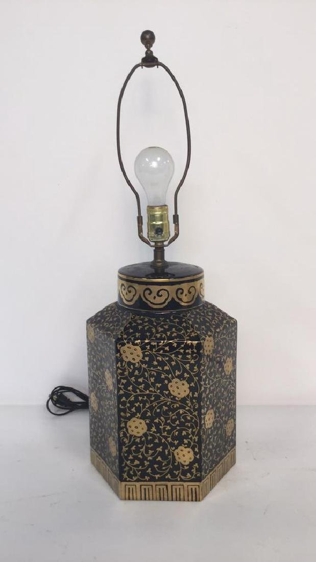 2 Gold Painted Vintage Lamps - 2