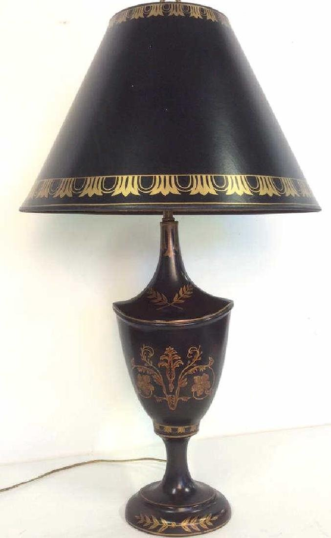 Decorative Black Urn Shaped Lamp With Shade