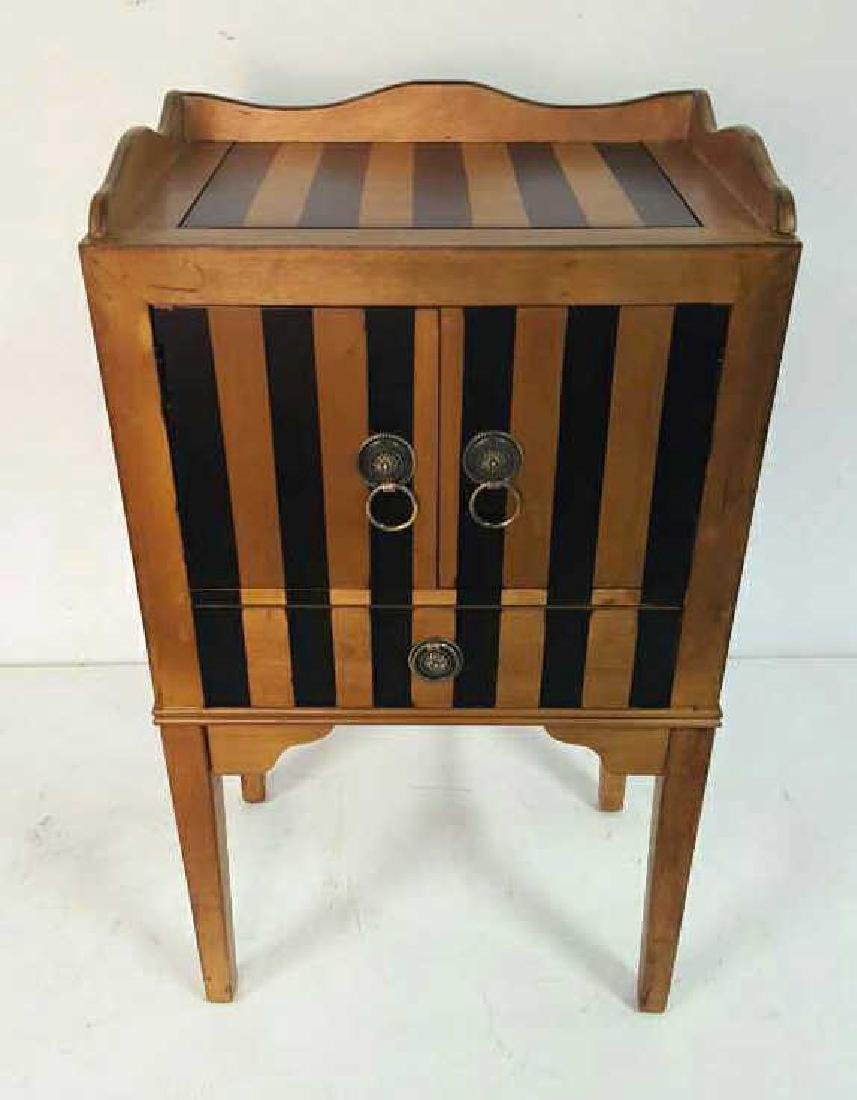 Graphic Striped Wood End Table