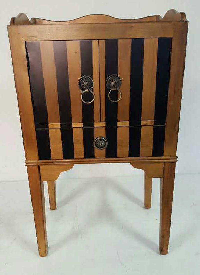 Graphic Striped Wood End Table - 2