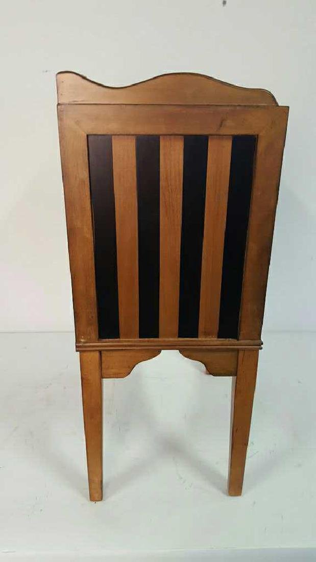 Graphic Striped Wood End Table - 5