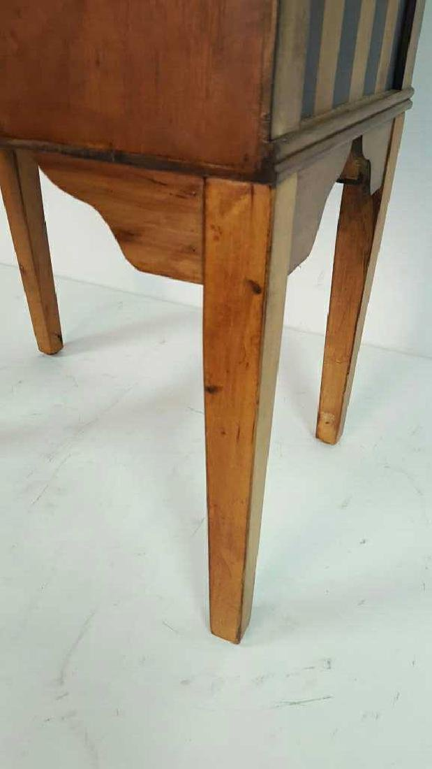 Graphic Striped Wood End Table - 7