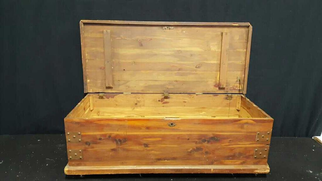 Antique Wood Chest - 6