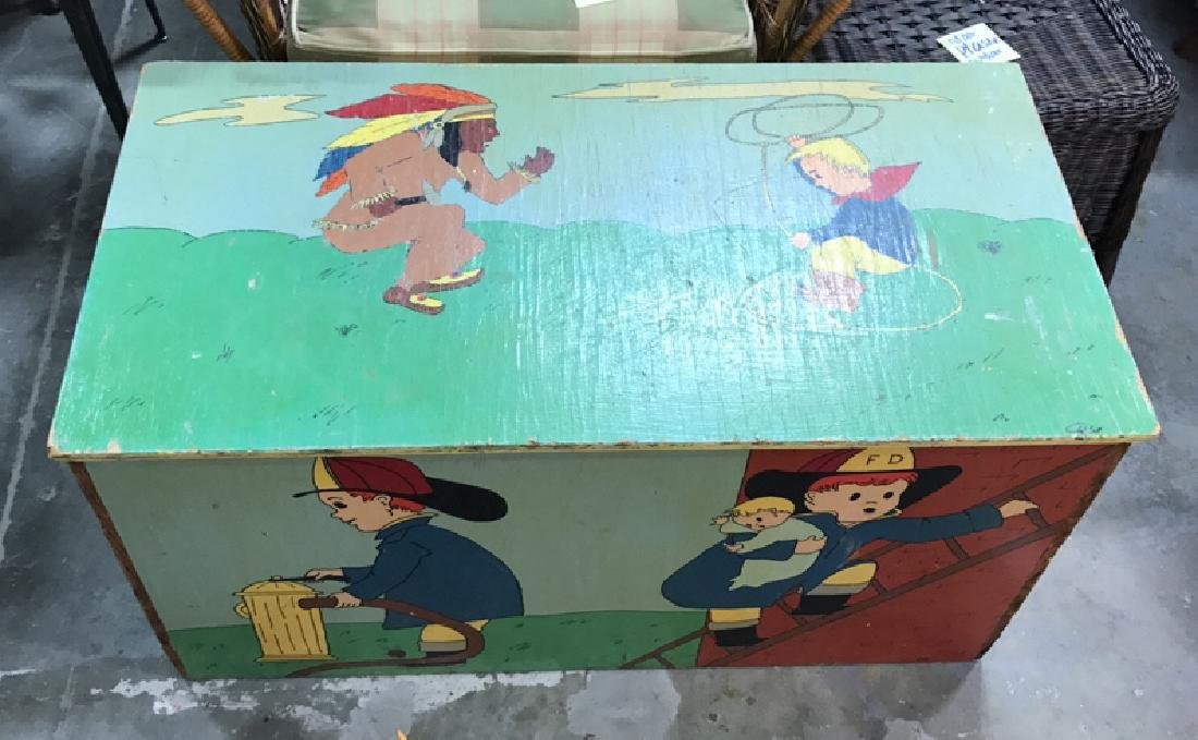 Folk Art Style Painted Kids Toy Chest