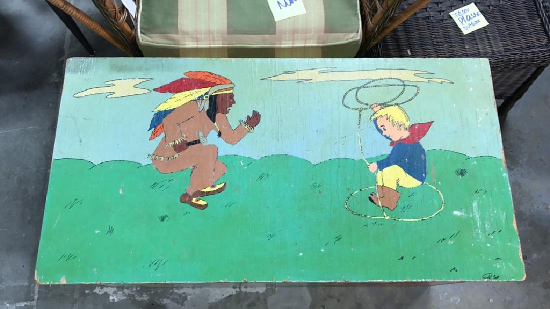 Folk Art Style Painted Kids Toy Chest - 2