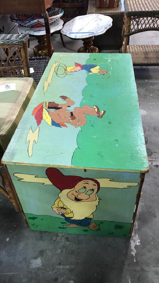 Folk Art Style Painted Kids Toy Chest - 4