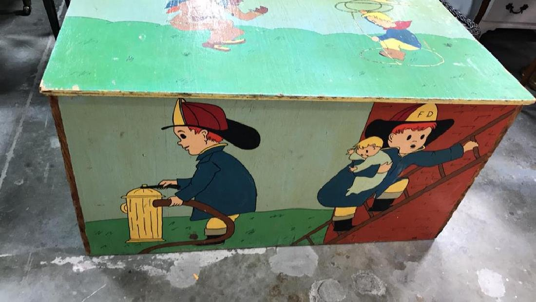 Folk Art Style Painted Kids Toy Chest - 5