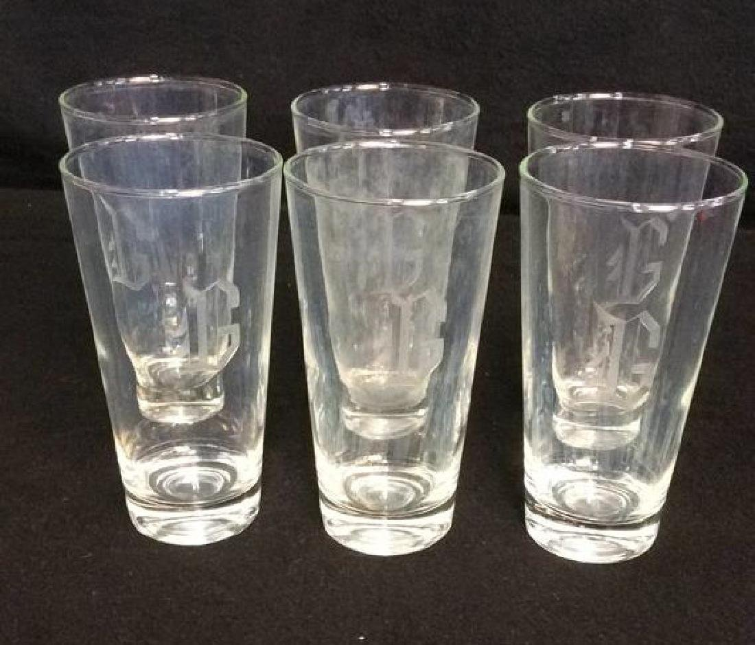 6 Tall Drinking  Glasses Etched With The Initial
