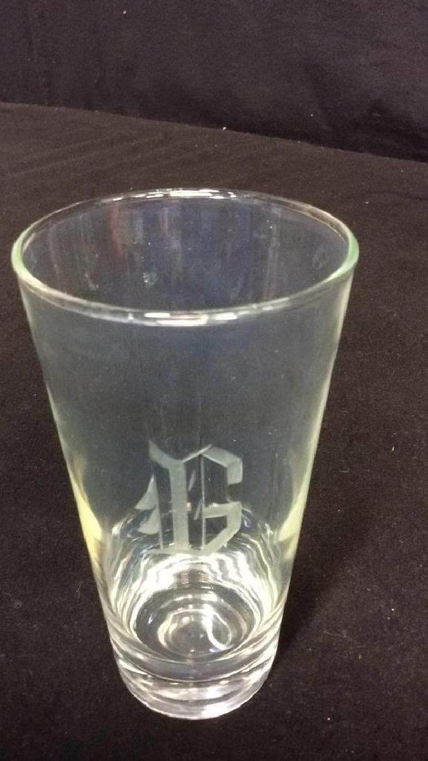 6 Tall Drinking  Glasses Etched With The Initial - 3