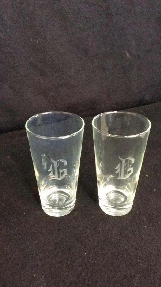 6 Tall Drinking  Glasses Etched With The Initial - 4