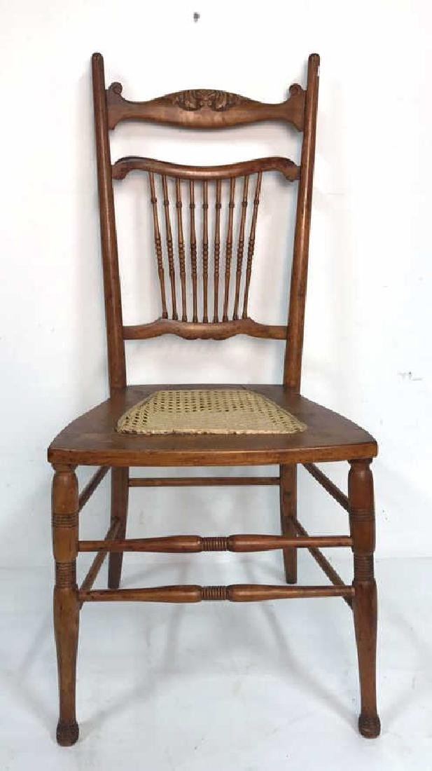 Vintage Wood Side Chair Cane Seat