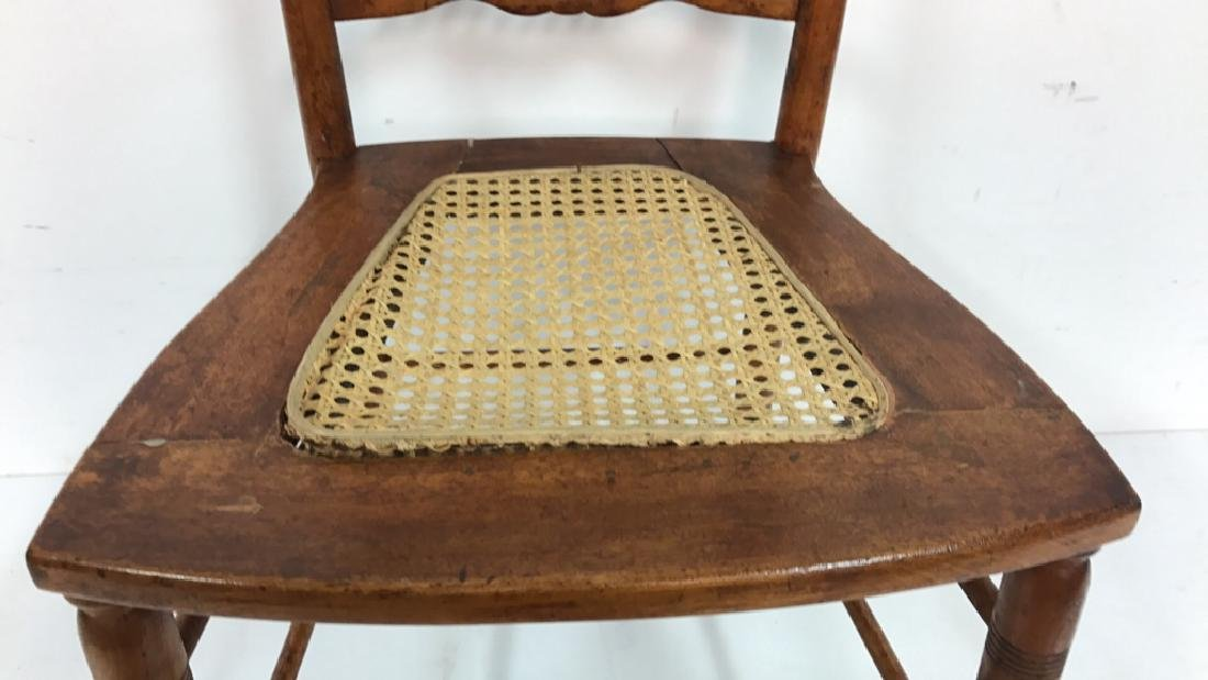 Vintage Wood Side Chair Cane Seat - 4