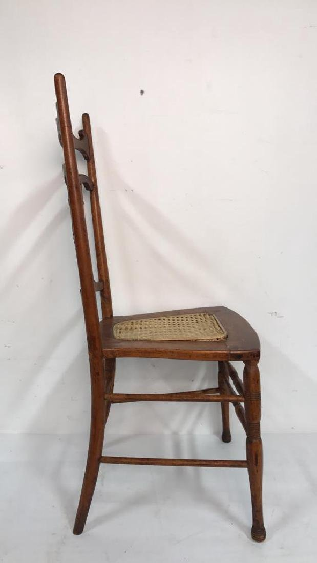 Vintage Wood Side Chair Cane Seat - 6