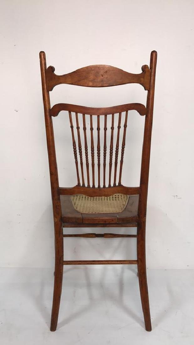 Vintage Wood Side Chair Cane Seat - 7