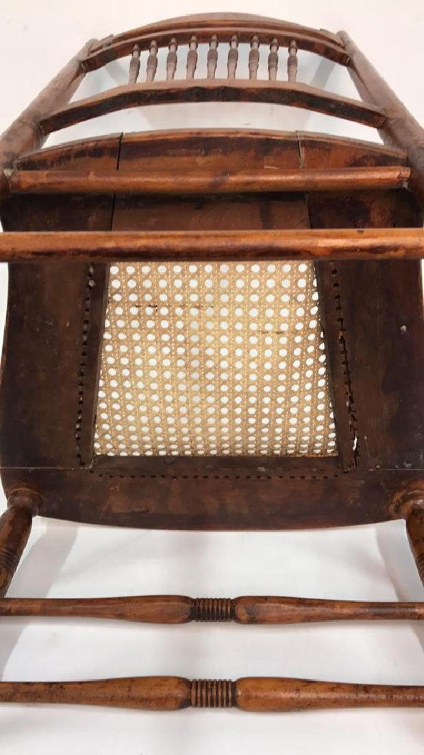 Vintage Wood Side Chair Cane Seat - 8
