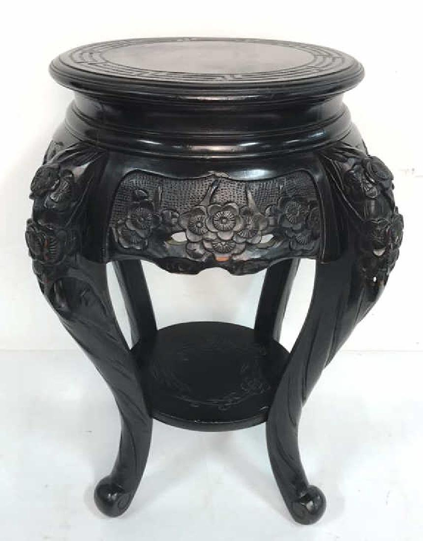 Wood Carved Black Painted Stand