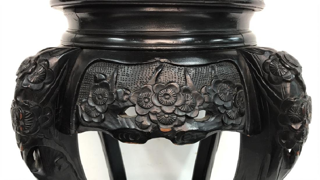 Wood Carved Black Painted Stand - 2