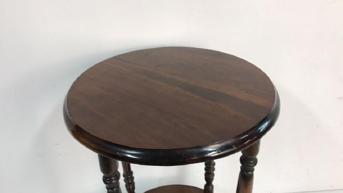 Vintage Style Wood Circular Side Table - 2
