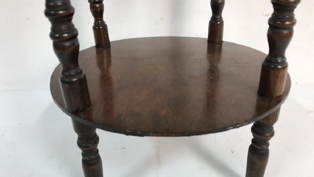 Vintage Style Wood Circular Side Table - 4